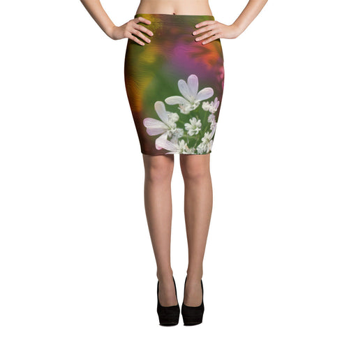 Pencil Skirt - Florals: Cilantro Splash by Lidka Schuch