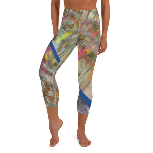 Capri Leggings, Yoga Cut - Wrapped in Trees: Spring Mambo Blue by Lidka Schuch