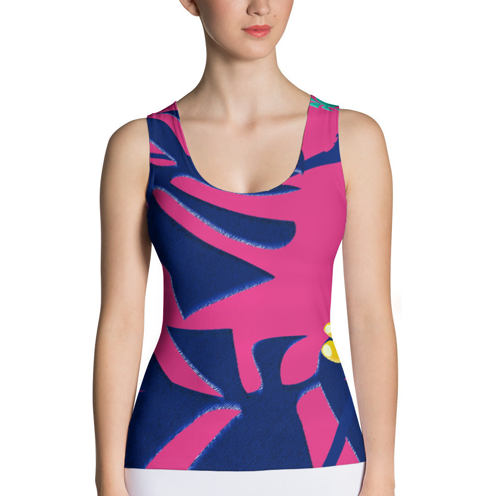 Tank Top - Tropical: Weaving Monstera in Hot Pink by Lidka Schuch