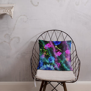 Basic Pillow - Florals: Cornflower Party by Night by Lidka Schuch