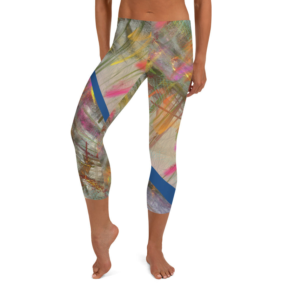 Capri Leggings, Classic Cut - Wrapped in Trees: Spring Mambo Blue by Lidka Schuch