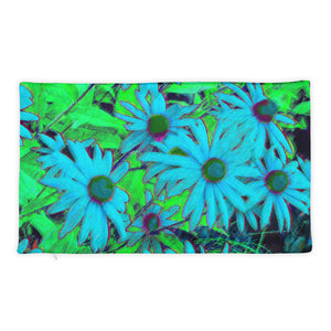 Basic Pillow Case only - Florals: Blue Green Susans by Lidka Schuch
