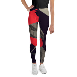 Tween's & Teen's Leggings - Tweet This: Cardinal Song in Taupe by Lidka Schuch