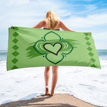 Beach Towel - Chakra Magic: Heart Chakra by Mona Idriss