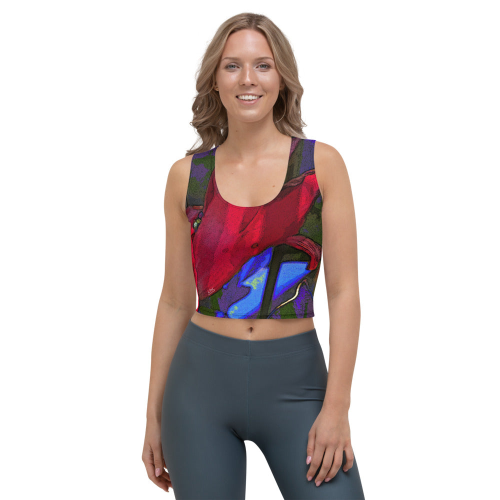 Crop Tank Top - Florals: Mandevilla Red by Lidka Schuch (LMS)