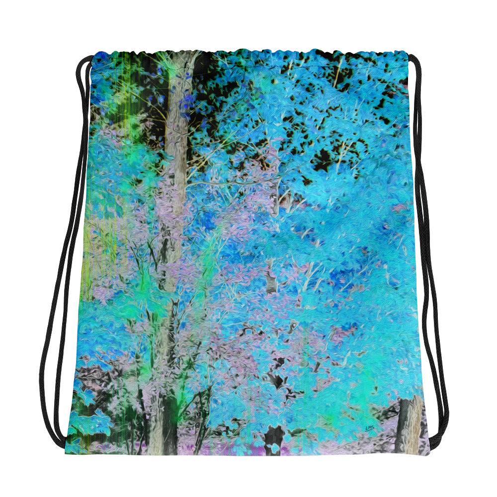 Drawstring Bag - Wrapped in Trees: Maples in Blue by Lidka Schuch