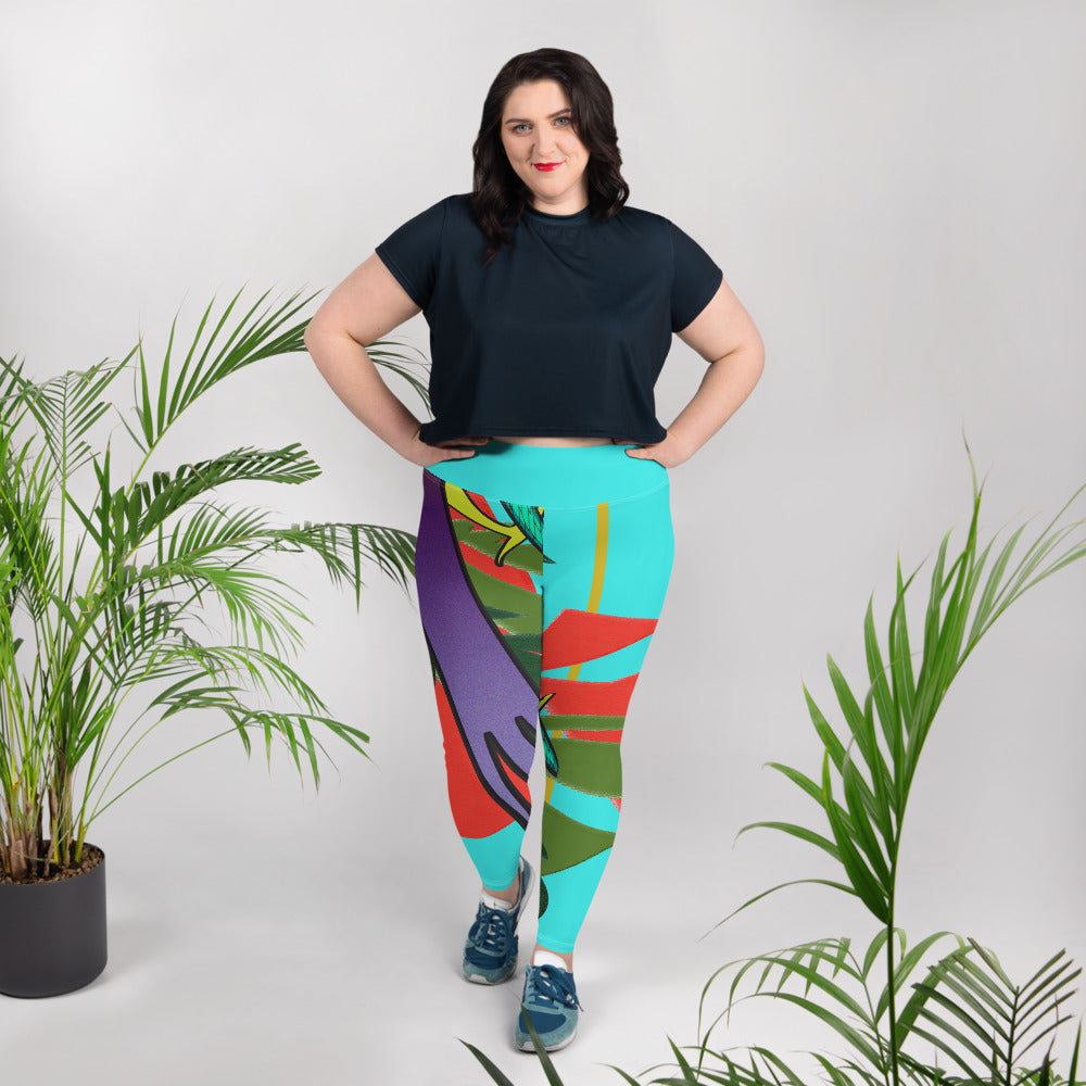 Leggings, plus size - Tropical: Drunk on Berries by Lidka Schuch
