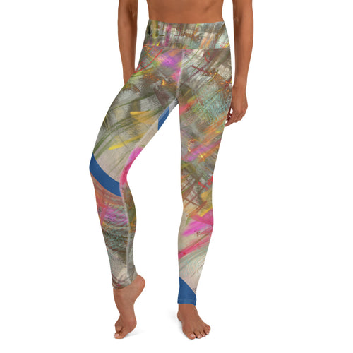 Leggings, Yoga Cut - Wrapped in Trees: Spring Mambo Blue by Lidka Schuch