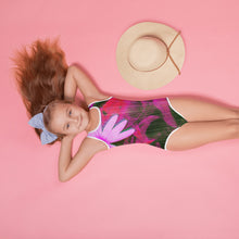 Kid's Swimsuit - Florals: Very Pink Susans by Lidka Schuch