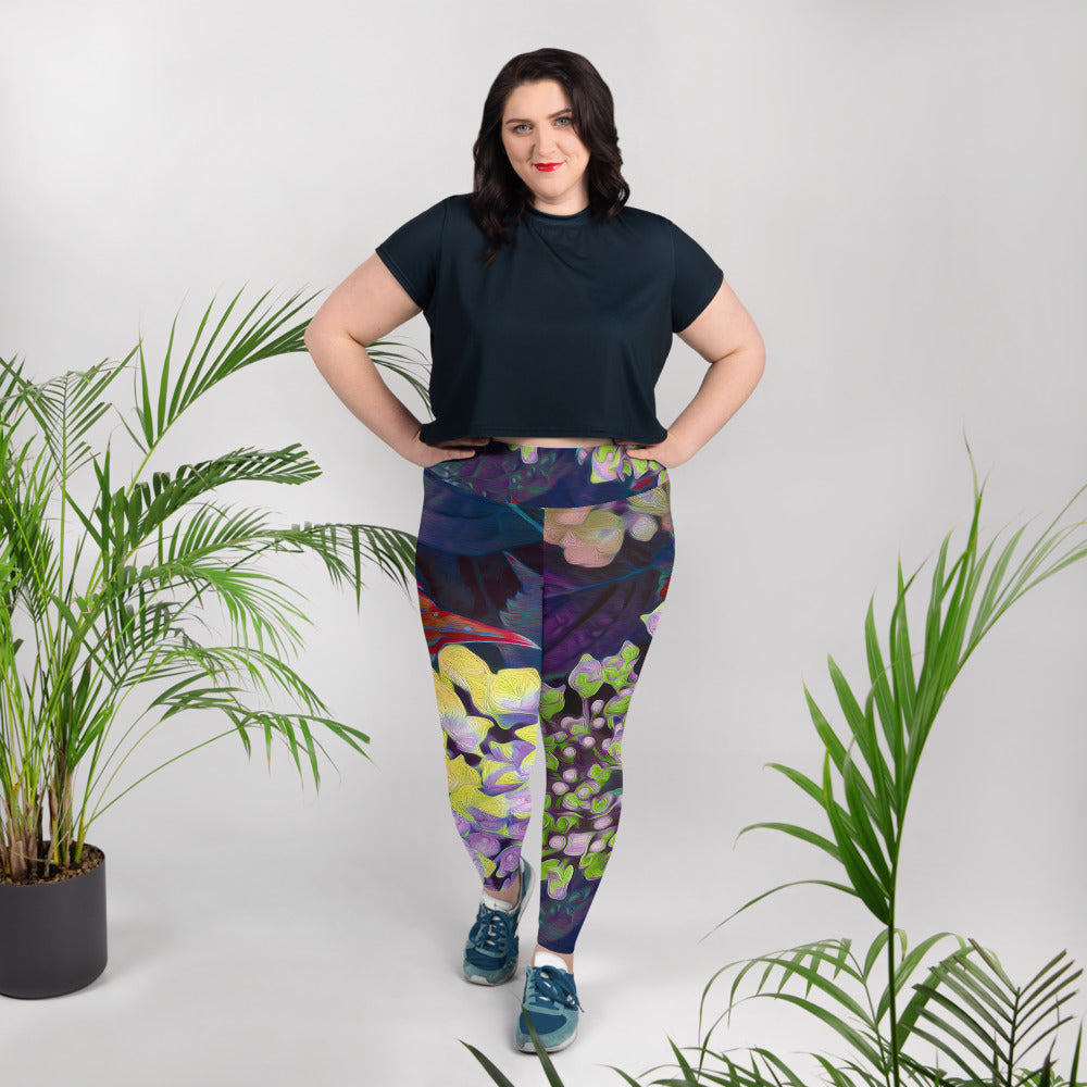 Leggings, plus size - Florals: Yellow Hydrangea by Lidka Schuch