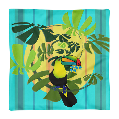 Premium Pillow Case only - Tropical: Spiral Toucan by Lidka Schuch
