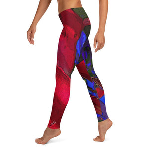 Leggings, Classic Cut - Florals: Mandevilla Red by Lidka Schuch (LMS)