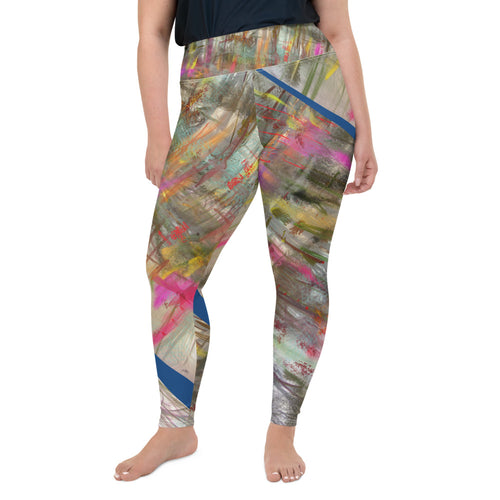 Leggings, plus size - Wrapped in Trees: Spring Mambo Blue by Lidka Schuch