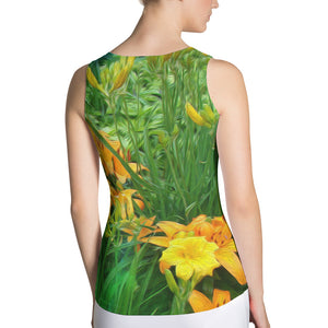 Tank Top - Florals: Day-Glo Lilies by Lidka Schuch