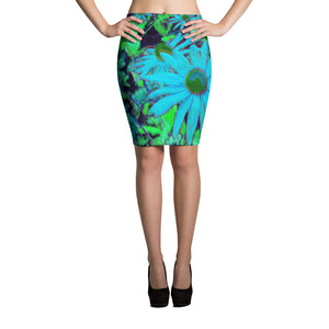 Pencil Skirt - Florals: Blue Green Susans by Lidka Schuch