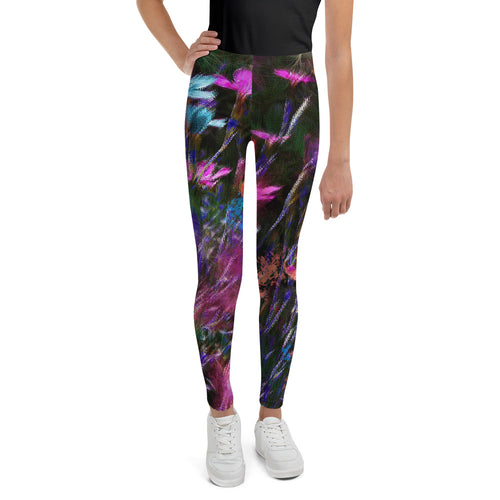 Tween's & Teen's Leggings - Florals: Phlox Party by Night by Lidka Schuch