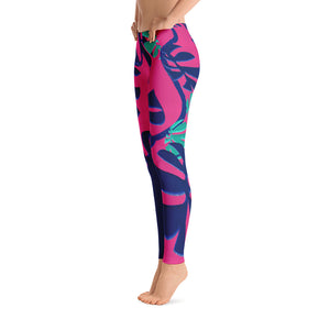 Leggings, Classic Cut - Tropical: Weaving Monstera in Hot Pink by Lidka Schuch