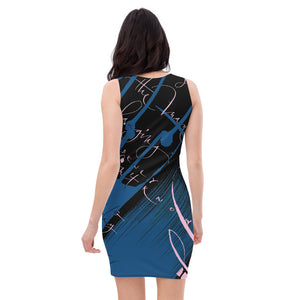 Bodycon | Fitted Dress - Yesterday in Parisian Blue and Pink by Barbara Galinska (BaGa)