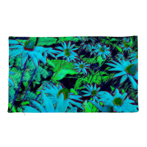 Premium Pillow Case only - Florals: Blue Green Susans by Lidka Schuch