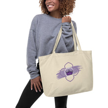 Large Cotton Tote Bag - Chakra Magic: Crown Chakra by Mona Idriss