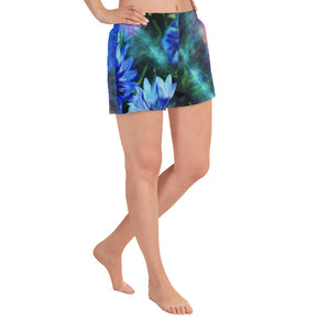 Sport Shorts - Florals: Cornflower Party by Night by Lidka Schuch