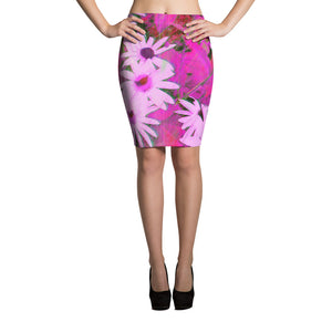 Pencil Skirt - Florals: Very Pink Susans by Lidka Schuch