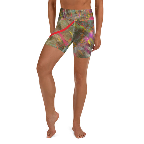 Yoga Shorts - Wrapped in Trees: Spring Mambo Red by Lidka Schuch