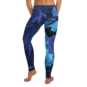 Leggings, Classic Cut - Florals: Night-Glo Lilies