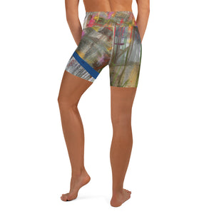 Yoga Shorts - Wrapped in Trees: Spring Mambo Blue by Lidka Schuch