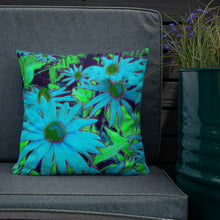 Premium Pillow - Florals: Blue Green Susans by Lidka Schuch