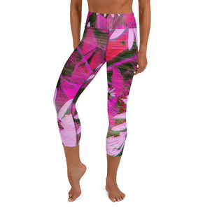 Capri Leggings, Yoga Cut - Florals: Very Pink Susans by Lidka Schuch