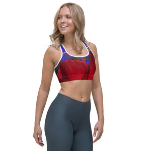 Sports Bra - Florals: Mandevilla Red by Lidka Schuch (LMS)