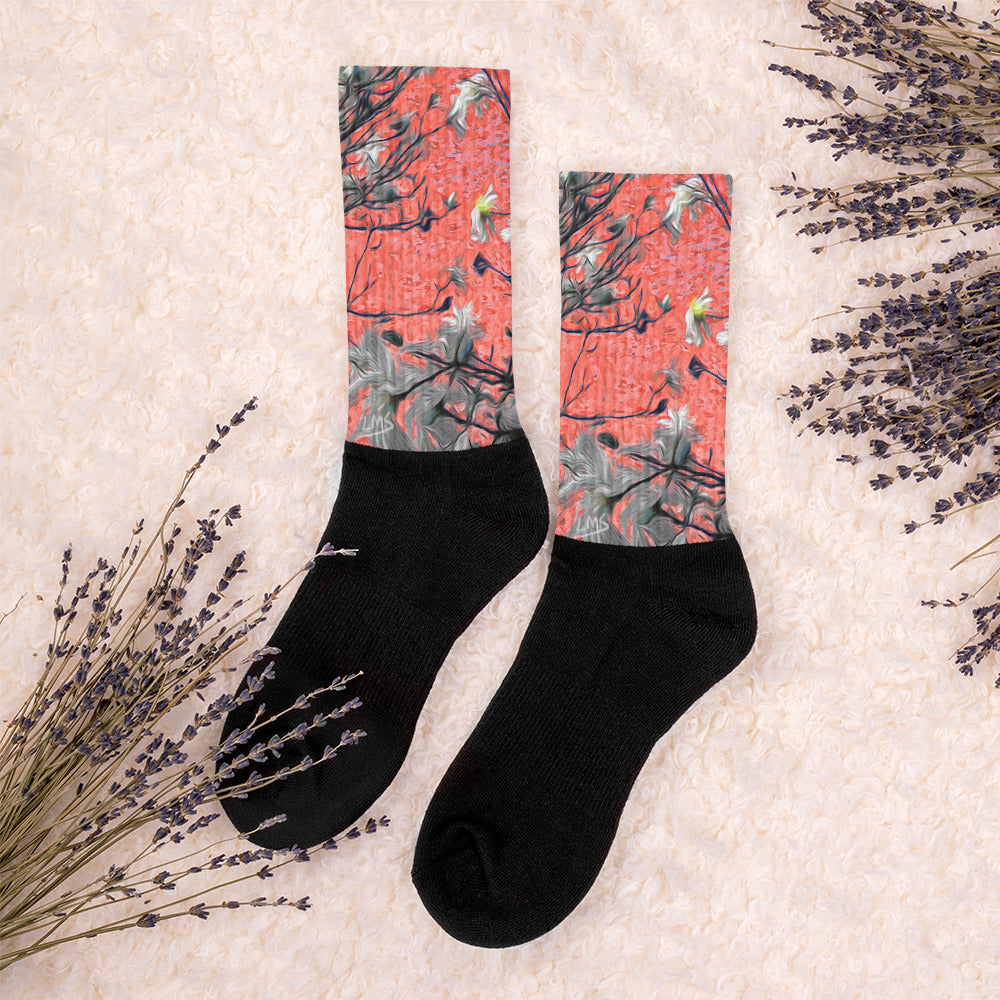 Socks, Unisex - Wrapped in Trees: Magnolia Redefined by Lidka Schuch