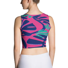 Crop Tank Top - Tropical: Weaving Monstera in Hot Pink by Lidka Schuch