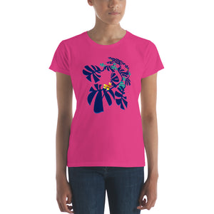 Women's short sleeve t-shirt 100% cotton - Tropical: Weaving Monstera in Hot Pink by Lidka Schuch