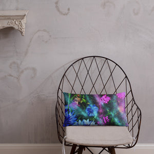Pillow, Florals: Cornflower Party by Night by Lidka Schuch