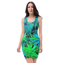 Bodycon | Fitted Dress - Florals: Blue Green Susans by Lidka Schuch