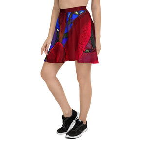 Skater Skirt - Florals: Mandevilla Red by Lidka Schuch (LMS)