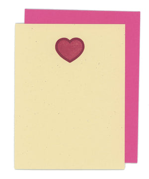 Two Color  Hearts Flat Letterpress Card
