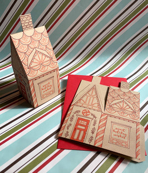 Blackbird Letterpress - Gingerbread house 3D card