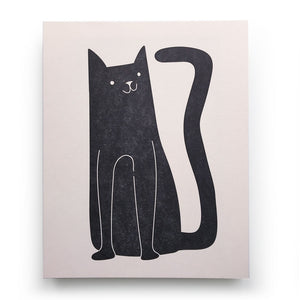 Black Cat Letterpress Print
