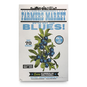 Blueberry Farmer's Market Letterpress Poster