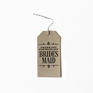 Bridesmaid Thank You Letterpress Tag