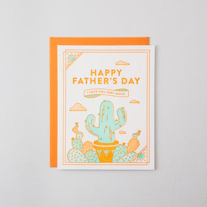 Happy Father's Day Cactus Letterpress Card