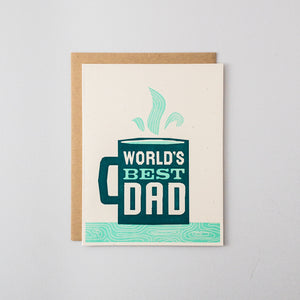 Worlds Best Dad Letterpress Card