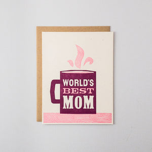 World's Best Mom Letterpress Card