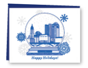 Columbus Snowglobe Letterpress Card