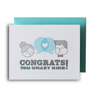 Congrats Crazy Kids Letterpress Card