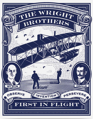 First In Flight Letterpress Postcard