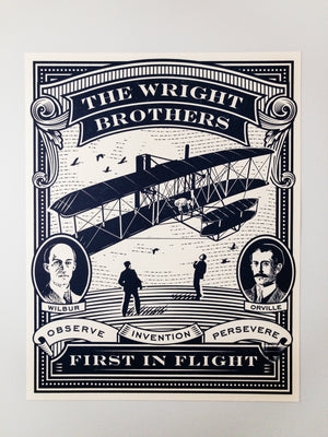 First In Flight Wright Brothers Letterpress Art Print